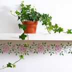 Rose Border Stencil - Rose Border Wall Stencil from Royal Design Studio Stencils. This handpainted rose border pattern is a great accent to a kitchen, bathroom or girl's bedroom adding a traditional, country, cottage feeling.