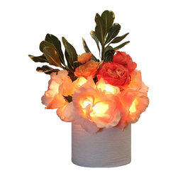The Firefly Garden - Radiant Roses - Illuminated Floral Design, Pink and Peach, White Ceramic Vase - Bring the timeless beauty of Roses to your home, with the added feature of lighting. Housed in a selection of vases, Radiant Roses is perfect for a guest bedroom or bathroom. This battery operated floral arrangement is a unique alternative to a night light .The glowing Roses cast subtle and beautiful shadows to accent any space.