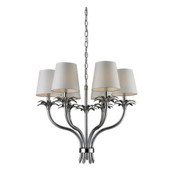 Elk Lighting - Carlisle 6-Ligth Brass and Steel Chandelier with Shade - Carlisle 6 light brass and steel chandelier with shade