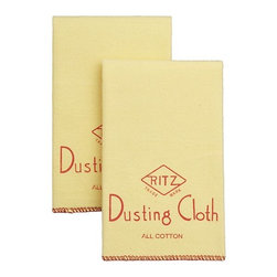 Flannel Dusters Set of 2 - Ultra-soft, fluffy flannel dusters have been gently cleaning up fine furniture, silver and automobiles since the 1940s. Fine yellow cotton dusters are finished with red blanket stitching and imprinted with a charming vintage Ritz logo.