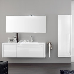 Azzurra - Azzurra | Azzurra Made 17 Vanity Set - Made in Italy by Azzurra.A part of the Made Collection. The Made 17 Vanity Set by Azzurra modernizes the ordinary bathroom by adding clean style and optimal organizational flexibility. This all-inclusive vanity set includes one main deep drawer, two smaller drawers for additional storage space, and a tall storage unit alongside a rectangular mirror to complete the set. Choose to install an optional LED lamp above the mirror for a more illuminated styling experience. The vanity unit also includes a convenient line towel rail for easy towel storage. Product Features: