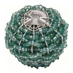 Atlas Homewares - Atlas Homewares 3168 Bollywood Large Beaded Weave Door Knob, Aqua - Atlas Homewares 3168 Bollywood Large Beaded Weave Door Knob, Aqua