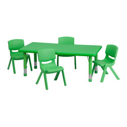 Flash Furniture - Flash Furniture 24 x 48 Adjustable Rectangular Green Plastic Activity Table Set - This table set is excellent for early childhood development. Primary colors make learning and play time exciting when several colors are arranged in the classroom. The durable table features a plastic top with steel welding underneath along with height adjustable legs. The chair has been properly designed to fit young children to develop proper sitting habits that will last a lifetime. [YU-YCX-0013-2-RECT-TBL-GREEN-R-GG]