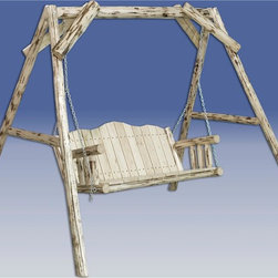 Montana Woodworks - Montana Log Lawn Swing w A-Shaped Frame (Unfi - Finish: Unfinished20-year limited warranty. Made from solid, American grown pine. Hand-crafted in the US, each Montana Woodwork product is made from unprocessed, solid wood that highlights the character of its source tree with unique knots and grains. Made in USA. Minimal assembly required. 88 in. W x 75 in. D x 77 in. HImagine the rustic beauty of this lawn swing gracing your yard, deck or lawn. Swing away the tensions of your day while enjoying the elegance of rustic lawn furniture.