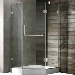 Vigo - Vigo 40 x 40 Frameless Neo-Angle 3/8in.  Clear/Chrome Shower Enclosure with Whit - Both dramatic and space-saving, the Vigo frameless neo-angle shower enclosure creates a beautiful focal point for your bathroom.