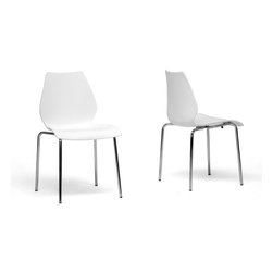 Baxton Studio - Baxton Studio Overlea White Plastic Modern Dining Chair (Set of 2) - Make an unforgettable statement with simplicity by adding the minimalist Overlea Chairs to your dining area. These clean, elegant seats are stackable, making them perfect for small spaces or entertaining. The seat is constructed of single-mold white plastic and comes with a base made of chrome-plated steel and non-marking feet.
