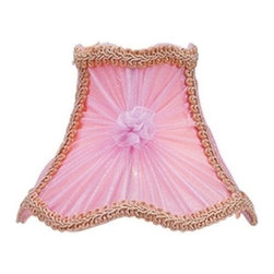 Livex Lighting Inc - Livex Chandelier Shade Pink Victorian Scalloped Bell clip with Fancy Trim -S215 - Clip on Shade