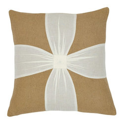 "VHC Brands - Burlap Natural & Cream Voile Bow Pillow - This pillow measures 16""x16"", is 100% cotton woven into a ""burlap"" fabric for a soft, natural look. This pillow features creme voile fabric sewn onto the front in a bow. The back features a 3"" overlap with 2-buttons to conceal pillow insert. Spot clean with a damp cloth."