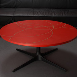 Modern Red Coffee Table w/ Inlay -