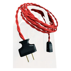 ClothCords - Cloth Extension Cord - Premium Quality - 10ft, Williamsburg Red - Extension Cord Cloth-Covered