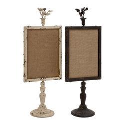 Benzara - Classic Style Metal Wood Memo Board 2 Assorted Home Decor - Description: