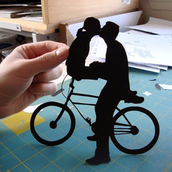 "First Anniversary Gift Paper Kissing Couple on Bike by Papercuts by Joe - This hand-cut paper silhouette comes mounted on an 8"" x 10"" white illustration board and is achingly sweet."