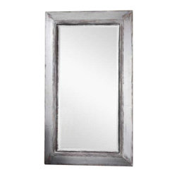 "Uttermost Lucanus Oversized Silver Mirror - Heavily distressed aged silver finish with rustic brown and natural wood undertones. Frame features a heavily distressed, aged silver finish with rustic brown and natural wood undertones. Mirror has a generous 1 1/4"" bevel. May be hung horizontal or vertical."