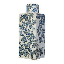 China Furniture and Arts - Porcelain Tea Jar - With classic silhouette and elegant design, this tea jar makes a great accent piece for any contemporary setting. Hand-crafted of porcelain with delicately hand-painted classic nature-inspired blue and white design. Display it on a side table or as a centerpiece where it is sure to be admired for its beauty. Imported. Display stand is not included.