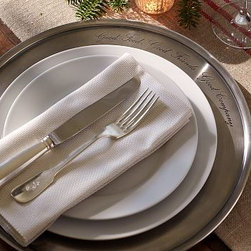 """Antique-Silver Charger - Inscribed with the phrase, Good Food, Good Friends, Good Company, our charger makes a gleaming backdrop for a dinner plate. 14.5"""" diameter Made of stainless steel with an antique-silver finish."""