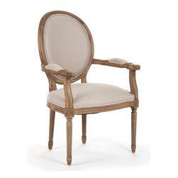 Kathy Kuo Home - Madeleine French Country Louis XVI Linen Oval Dining Arm Chair - Fusing classic European design with simple rustic charm. A distressed bleached oak finish adds an antique touch to this Louis XVI style arm chair. Upholstered in a natural linen, this traditional arm chair lends vintage elegance to a dining room.