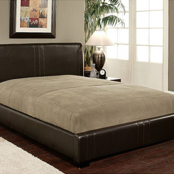 Abbyson Living - Abbyson Living Malibu Dark Brown Bi-cast Leather Queen-size Bed - Materials: Faux leather,solid hardwoodUpholstery materials: Bi-cast faux leatherUpholstery color: Dark Brown
