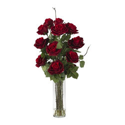 Roses with Cylinder Vase Silk Flower Arrangement - Nothing says 'love' quite like a red rose in full bloom. The soft petals, so perfectly formed; the deep, rich color; the lush greenery that provides the ideal backdrop ' the visual is intoxicating indeed. And this piece perfectly captures that essence with this amazing Red Rose bouquet. Complete with a sturdy vase, this beautiful arrangement will project a feeling of warmth for years to come. Height= 27 in x Width= 14 in x Depth= 14 in