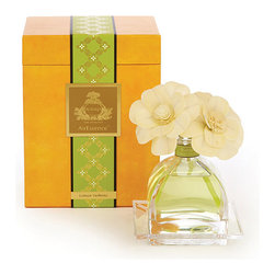 Frontgate - Agraria Lemon Verbena Air Essence Diffuser - 7.4 fl. oz.. Brisk, bright fragrance evokes the fresh, clear exuberance of lemon-scented verbena leaves, enhanced with a touch of Caribbean lime and hints of rose and jasmine. AirEssence remains active for approximately one year. Flower petals will change to the color of the oil. Sola flowers, sewn onto a cotton wick, are a natural material and environmentally friendly. Agraria takes diffusers beyond the standard reeds-in-a-bottle look with its gorgeously ornamental Lemon Verbena AirEssence Diffuser. It diffuses through sola flowers, individually made by skilled artisans using the dried peel of the tapioca plant. As fragrant essential oils are absorbed through a cotton wick, the scent diffuses into the air.  .  .  .  .  . Glass bottle rests on a crystal glass tray stamped with an eight-petal rose . Made in the USA.