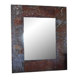 Used Zinc Coffer Frame Large Mirror - This large rectangular mirror in zinc coffer frame is the perfect mis of industrial and boheimian. Perfect of an entry way or used in the bathroom.