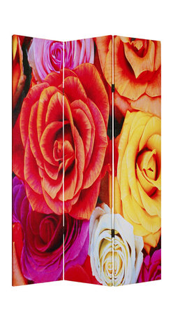 Screen Gems - Screen Gems Daisy And Rose Screen - This is a 3 panel screen printed on canvas. The screen is two sided with different and complementary images on each side. It is light weight and very easy to move. The screen also has inspirational wall decor applications.