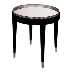 Sterling Industries - Black Tie Table - Glamour and practicality set apart this fabulous occasional table. The top is covered with a sparkling mirror and framed with a metal trim in a polished nickel finish. The frame and legs are finished in black.