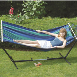StanSport - 'Cayman' Double Fabric Hammock/Stand Combo - Relax in comfort with this beautiful 'Cayman' double fabric canvas hammock. Made with strong, breathable cotton canvas in beautiful bright colors, this hammock is complete with a padded headrest pillow, hardwood spreader bars and hardened steel stand.