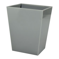 Mike+Ally - Ice Wastebasket, Grey - The Mike + Ally Ice Bath Collection is made from thick and sturdy Lucite. The Lucite wastebaskets, available in a variety of colors, are contemporary and sleek additions to a luxurious powder room or modern bathroom.