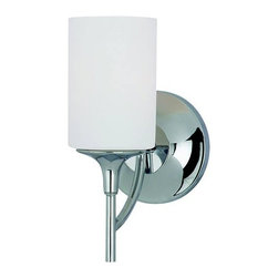 Sea Gull Lighting - Stirling One-Light Chrome Bath Light - -Cased Opal Etched�Glass  -Material: Steel  -Includes 6.5 of wire/cord  -Can be mounted upward or downward Sea Gull Lighting - 44952-05