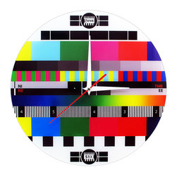 Joint Wall Clock - Late night TV viewers are sure to be very familiar with the tests that tv stations perform in case of an emergency. Now we bring you this funky Retro TV Screen set wall clock, that has unique style and would make a perfect addition to any home. It doesn't matter if there's nothing on on tv - you can stare at this cool test screen timepiece instead. Clock has unique style with words: Three, Six, Nine, Twelve, instead of numbers. Please visit my ebay page to buy!!