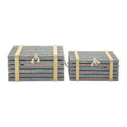 Antique Styled Wood Burlap Trunk, Set of 2 - Description: