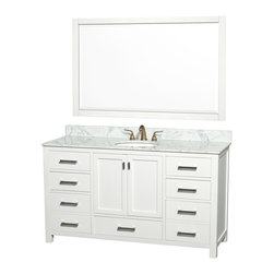 Wyndham Collection - Abingdon Single White with Regular Mirror and White Undermount Porcelain Sink - Distinctive styling and elegant lines come together to form a complete range of modern classics in the Abingdon Bathroom Vanity collection. Inspired by well established American standards and crafted without compromise, these vanities are designed to complement any decor, from traditional to minimalist modern. Dimensions: 61 in.