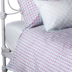 Mia + Finn - James Sky/Dahlia Duvet Cover, King - As cozy and comfortable as a cookout, this country-style duvet cover is made from 300 thread count cotton percale, for a soft feel and machine-washable convenience. Each piece is individually block-printed, resulting in subtle variations that are a hallmark of this age-old process.