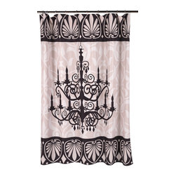 """""""Luminere"""" Fabric Shower Curtain - """"Luminere"""" Heavier Weight Fabric shower curtain, 100% polyester, size 70""""x72"""". With it's bold chandelier design, our """"Luminere"""" Fabric Shower Curtain will light up your bathroom. Made to fit standard-sized bathtubs or showers (curtain measuring 70'' w x 72'' l), """"Luminere""""  is made with a premium quality polyester fabric, giving it added weight and durability. This curtain is both machine-washable and water repellant (no liner required).   Machine wash in warm water, tumble dry, low, light iron as needed"""