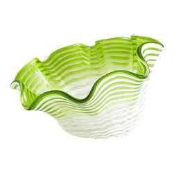 Cyan Design - Teacup Party Bowl-Small - Clear and Green - Small teacup party bowl - clear and green