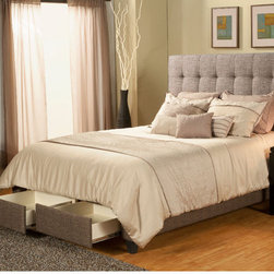 """Casual Elegance - Manhattan Storage Platform Bed - The Manhattan Storage bed, constructed and designed by furniture makers, is a premium platform bed with upholstered headboard with storage. The Manhattan provides two over sized full-extension drawers that may be used to accommodate items such as memorabilia, keepsakes, photo albums, linens, clothes, shoes, and other valuables. We all need more storage. Features: -Premium drawer construction. -2 Drawers. -Anti jam drawer shield. -Touch latch drawer openers. -Full extension ball bearing drawer glides. Dimensions: -Queen: 58"""" H x 74.5"""" W x 94"""" D, 197 lbs. -King: 58"""" H x 62.5"""" W x 90"""" D, 224 lbs. -California King: 58"""" H x 80.5"""" W x 90"""" D, 227 lbs."""