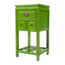 Green Lacquered Side Table - A beautiful three drawer Chinese End Table with light antique paint finish and a lattice style base shelf. An exciting bedroom or living room addition.
