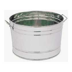 "Achla - Round Stainless Steel Planter - A striking planter tub made of stainless steel: this tub is a versatile addition to one's gardening accessories.  Ideal for plants, flowers, or gardening tools, this galvanized tub spices up any outdoor display.  Use indoors for storage of linens, towels, or other household items.  Durable and long lasting, an accessory with multipurpose functions.  Its generous 16.25"" diameter will accommodate even the largest potted plants. * Stainless Steel. 16.25 in. Diameter x 10.25 D in."