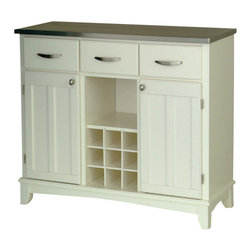 HomeStyles - 41.75 in. Buffet in White Finish - This buffet will be a lovely addition to any casual or country style decor. It's light and airy with a white cabinet and updated with a functional stainless steel top. Classic paneled doors and three utility drawers frame the open wine cubbies and display shelf. * 18 gauge stainless steel top. Three utility drawers. Two wood framed cabinet doors with an adjustable shelf for plenty of inside storage. Center wine storage area. Brushed steel hardware. Adjustable floor levelers. Made from Asian hardwood. Made in Thailand. Assembly required. 41.75 in. W x 17 in. D x 36.25 in. H