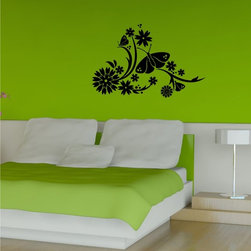 StickONmania - Butterfly Flower Design #27 Sticker - A cool vinyl decal wall art decoration for your home  Decorate your home with original vinyl decals made to order in our shop located in the USA. We only use the best equipment and materials to guarantee the everlasting quality of each vinyl sticker. Our original wall art design stickers are easy to apply on most flat surfaces, including slightly textured walls, windows, mirrors, or any smooth surface. Some wall decals may come in multiple pieces due to the size of the design, different sizes of most of our vinyl stickers are available, please message us for a quote. Interior wall decor stickers come with a MATTE finish that is easier to remove from painted surfaces but Exterior stickers for cars,  bathrooms and refrigerators come with a stickier GLOSSY finish that can also be used for exterior purposes. We DO NOT recommend using glossy finish stickers on walls. All of our Vinyl wall decals are removable but not re-positionable, simply peel and stick, no glue or chemicals needed. Our decals always come with instructions and if you order from Houzz we will always add a small thank you gift.