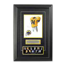 "Heritage Sports Art - Original art of the NFL 1994 St. Louis Rams uniform - This beautifully framed piece features an original piece of watercolor artwork glass-framed in an attractive two inch wide black resin frame with a double mat. The outer dimensions of the framed piece are approximately 17"" wide x 24.5"" high, although the exact size will vary according to the size of the original piece of art. At the core of the framed piece is the actual piece of original artwork as painted by the artist on textured 100% rag, water-marked watercolor paper. In many cases the original artwork has handwritten notes in pencil from the artist. Simply put, this is beautiful, one-of-a-kind artwork. The outer mat is a rich textured black acid-free mat with a decorative inset white v-groove, while the inner mat is a complimentary colored acid-free mat reflecting one of the team's primary colors. The image of this framed piece shows the mat color that we use (Yellow). Beneath the artwork is a silver plate with black text describing the original artwork. The text for this piece will read: This original, one-of-a-kind watercolor painting of the 1994 Los Angeles Rams (now St. Louis Rams) uniform is the original artwork that was used in the creation of this St. Louis Rams uniform evolution print and tens of thousands of other St. Louis Rams products that have been sold across North America. This original piece of art was painted by artist Nola McConnan for Maple Leaf Productions Ltd. Beneath the silver plate is a 3"" x 9"" reproduction of a well known, best-selling print that celebrates the history of the team. The print beautifully illustrates the chronological evolution of the team's uniform and shows you how the original art was used in the creation of this print. If you look closely, you will see that the print features the actual artwork being offered for sale. The piece is framed with an extremely high quality framing glass. We have used this glass style for many years with excellent results. We package every piece very carefully in a double layer of bubble wrap and a rigid double-wall cardboard package to avoid breakage at any point during the shipping process, but if damage does occur, we will gladly repair, replace or refund. Please note that all of our products come with a 90 day 100% satisfaction guarantee. Each framed piece also comes with a two page letter signed by Scott Sillcox describing the history behind the art. If there was an extra-special story about your piece of art, that story will be included in the letter. When you receive your framed piece, you should find the letter lightly attached to the front of the framed piece. If you have any questions, at any time, about the actual artwork or about any of the artist's handwritten notes on the artwork, I would love to tell you about them. After placing your order, please click the ""Contact Seller"" button to message me and I will tell you everything I can about your original piece of art. The artists and I spent well over ten years of our lives creating these pieces of original artwork, and in many cases there are stories I can tell you about your actual piece of artwork that might add an extra element of interest in your one-of-a-kind purchase."