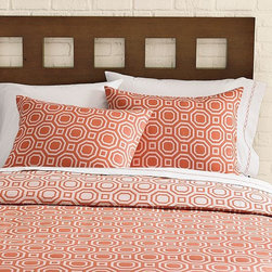 "Octagon Jacquard Duvet Cover + Shams | west elm - I am loving the fun geometry of this modern duvet cover and shams. They are reminiscent of David Hicks Pure cotton voile. Octagonal jacquard weaveReversible.Duvet Cover: Button closure, Shams: Envelope closure.Machine washTwin: 86""l x 68""w. Full/Queen: 88""l x 92""w. King: 92""l x 108""w. SHAMS Standard: 20""l x 26""w. Euro: 26""l x 26""w. $19.99-24.00"