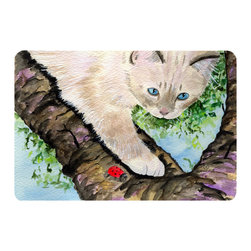 Caroline's Treasures - Cat - Birman Kitchen or Bath Mat 20 x 30 - Kitchen or Bath Comfort Floor Mat This mat is 20 inch by 30 inch. Comfort Mat / Carpet / Rug that is Made and Printed in the USA. A foam cushion is attached to the bottom of the mat for comfort when standing. The mat has been permanently dyed for moderate traffic. Durable and fade resistant. The back of the mat is rubber backed to keep the mat from slipping on a smooth floor. Use pressure and water from garden hose or power washer to clean the mat. Vacuuming only with the hard wood floor setting, as to not pull up the knap of the felt. Avoid soap or cleaner that produces suds when cleaning. It will be difficult to get the suds out of the mat.