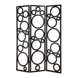 Adarn Inc. - Contemporary Delicate Black Circles Pine Wood 3 Panels Room Divider Screen Shoji - The modern style of this 3 Panel Wood Screen simply sweet and it is sure to compliment any home decor. Define space and create privacy with this screen, which is a simple, elegant way to divide a room. Room dividers are great for dorm rooms, bedrooms and other areas that need dividing or privacy solutions - also useful for creating separate spaces in a shared home office. This 3-panel folding screen features a pine wood frame. Add instant decor and privacy to your home with this beautiful floor screen!
