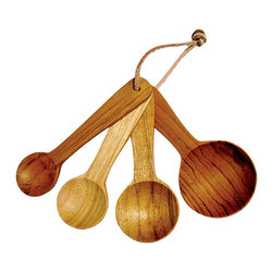 Teak Measuring Spoons - They are a measure of many things, including your predilection for items that eschew the expected and reflect the exceptional. The Teak Measuring Spoons reinterpret the standard aluminum or acrylic measuring utensils with a solid teak wood that boasts subtly variegated colors and grains. The four spoons are bound together with a simple rawhide cord.