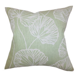 "The Pillow Collection - Fia Floral Pillow Green 18"" x 18"" - Bring a refreshing twist to your home with this plush toss pillow. Decorated with a floral pattern in cool shades of blue and natural, this throw pillow offers a relaxing vibe to your interiors. Constructed with a blend of 55% linen and 45% cotton material, this 18"" pillow is great for your sofa, bed or seat. Hidden zipper closure for easy cover removal.  Knife edge finish on all four sides.  Reversible pillow with the same fabric on the back side.  Spot cleaning suggested."