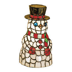 """Meyda Tiffany - 8.5""""H Snowman Tiffany Glass Accent Lamp - This cheerful Snowman accent lamp, crafted of Winter White with Berry Red and Pine Green stained art glass and colorful jewel accents will take the chill out of the coldest of days."""