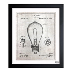 """The Oliver Gal Artist Co. - 'Edison Lamp Base 1890' Framed Wall Art 10"""" x 12"""" - Edison lightbulbs have been a big trend in lighting for the past few years. If you love the look, you will surely appreciate the vintage patent drawings dating to 1890. Choose from three sizes and show off this homage to the iconic innovation."""