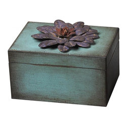 Sterling Industries - Wooden / Metal Flower Keep Sake Box - Purple - Wooden / Metal Flower Keep Sake Box - Purple