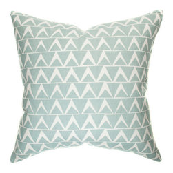 "Belle & June - Triangle Decorative Throw Pillow in Robins Egg Blue - We love how this modern decorative pillow gives an updated feel to any room in your home. With its crisp geometric pattern done in a soothing, elegant robins egg blue, this pillow is that perfect spring touch you?ve been looking for. Dimensions: 22"" x 22"""